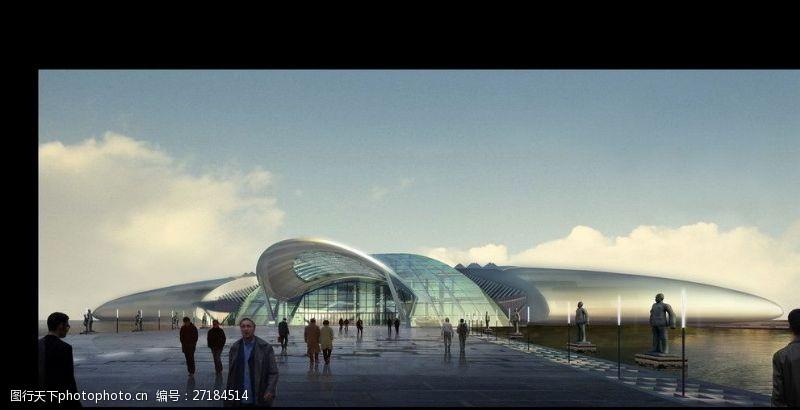 3d设计源文件体育馆建筑效果图
