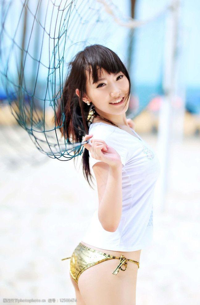 排球宝贝沙滩美女图片