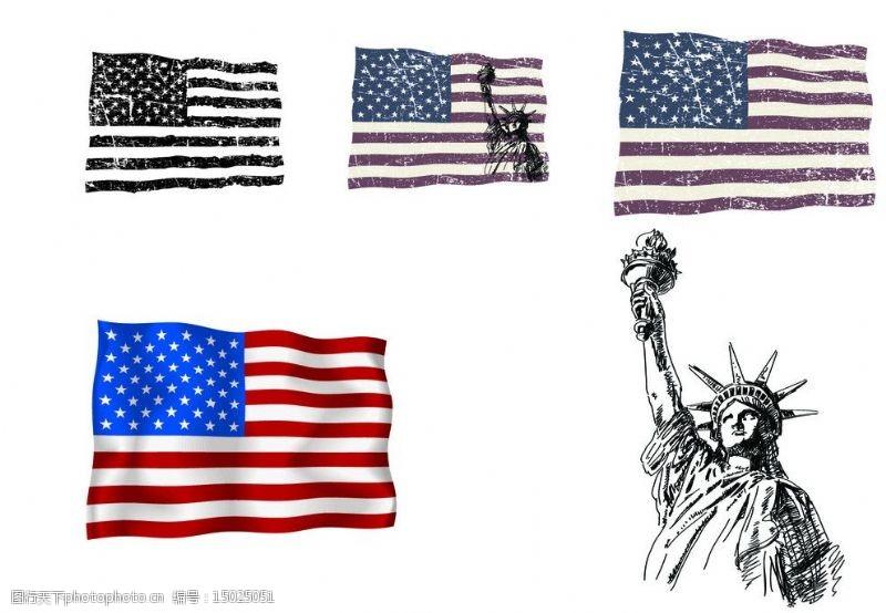 美国国旗矢量素材破损怀旧美国国旗图片