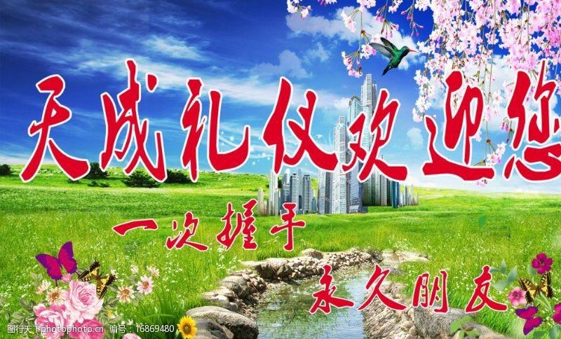 草地蓝天花朵天成礼仪图片