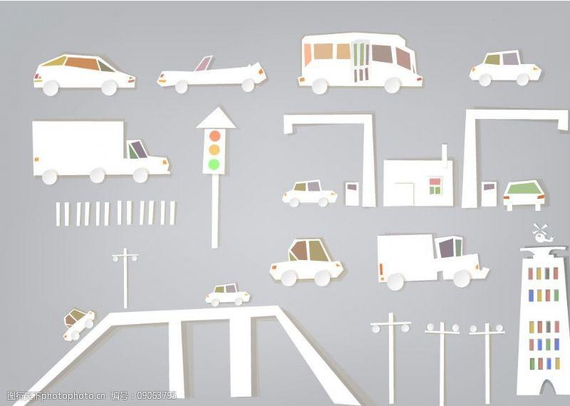交通剪纸图片
