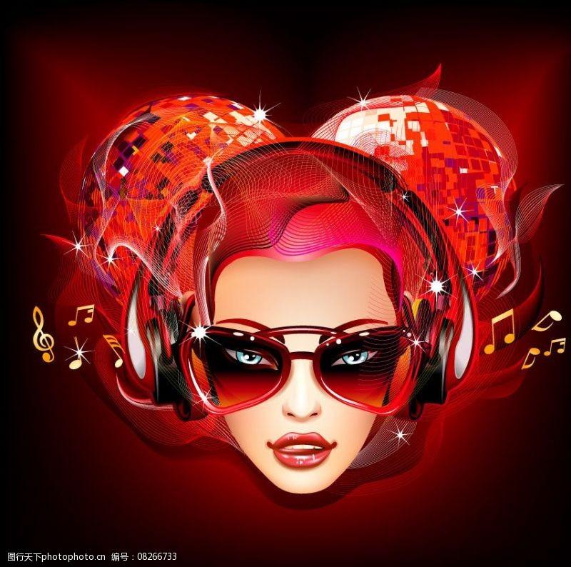 音乐美女矢量听音乐的美女迪斯科球音乐背景图片