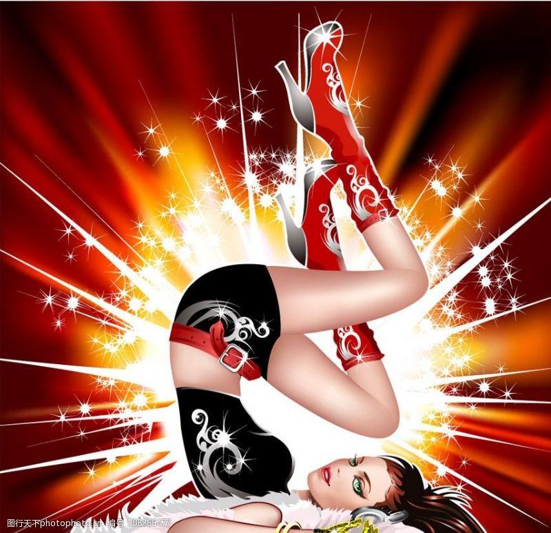 音乐美女矢量舞蹈听音乐的美女图片