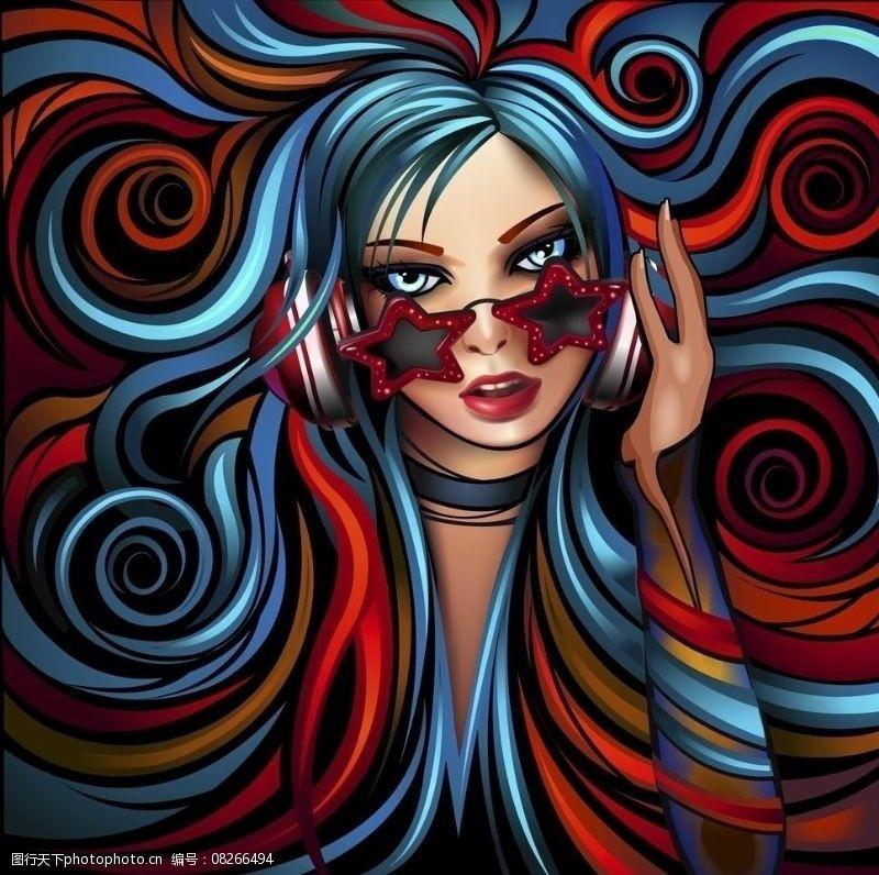 音乐美女矢量炫彩动感线条听音乐的美女图片