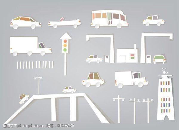 交通剪纸交通元素剪纸素材