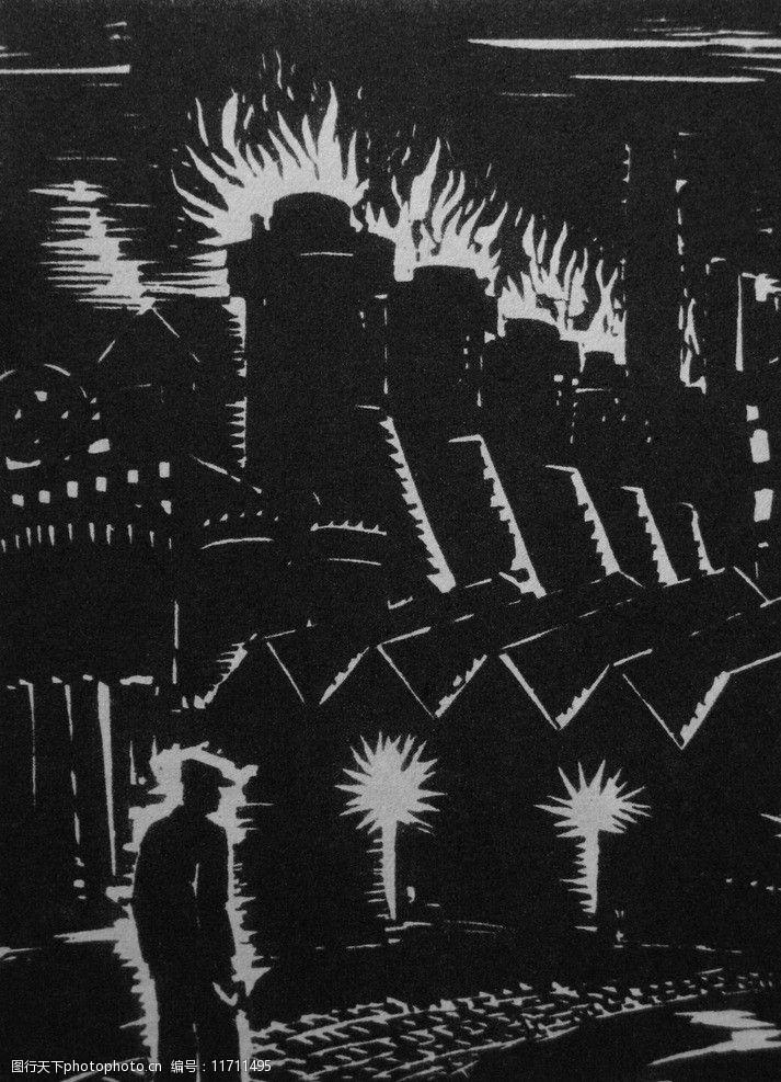 1947年埃·左拉萌芽插图木刻版画图片