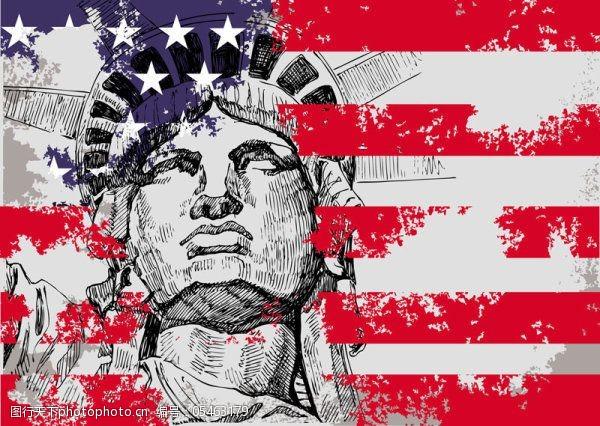 美国国旗矢量素材自由女神像矢量素材