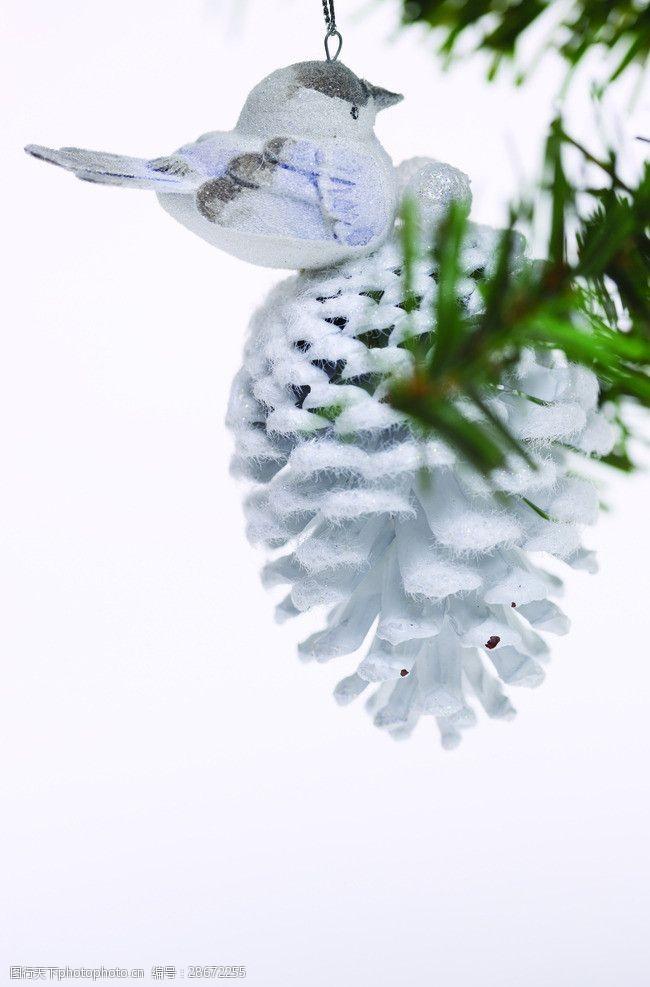 圣诞元素集合白色松子球圣诞元素